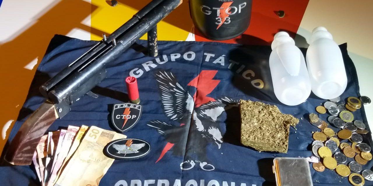EM AÇÃO EM SOBRADINHO I E II GTOP 33 APREENDE ARMAS DROGAS E RECUPERA CELULAR ROUBADO