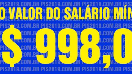 Salário mínimo é fixado em R$ 998 para 2019