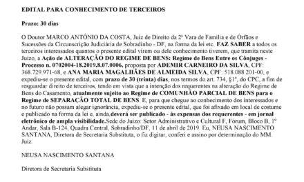 EDITAL PARA CONHECIMENTO DE TERCEIROS