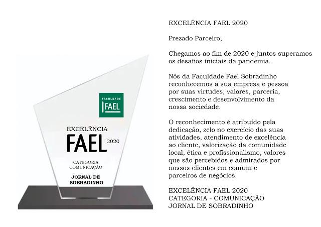 JORNAL DE SOBRADINHO RECEBE HOMENAGEM DA FACULDADE FAEL